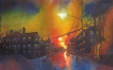 """Boylston Street in Jamaica Plain at sunset. 7.5""""x11"""""""
